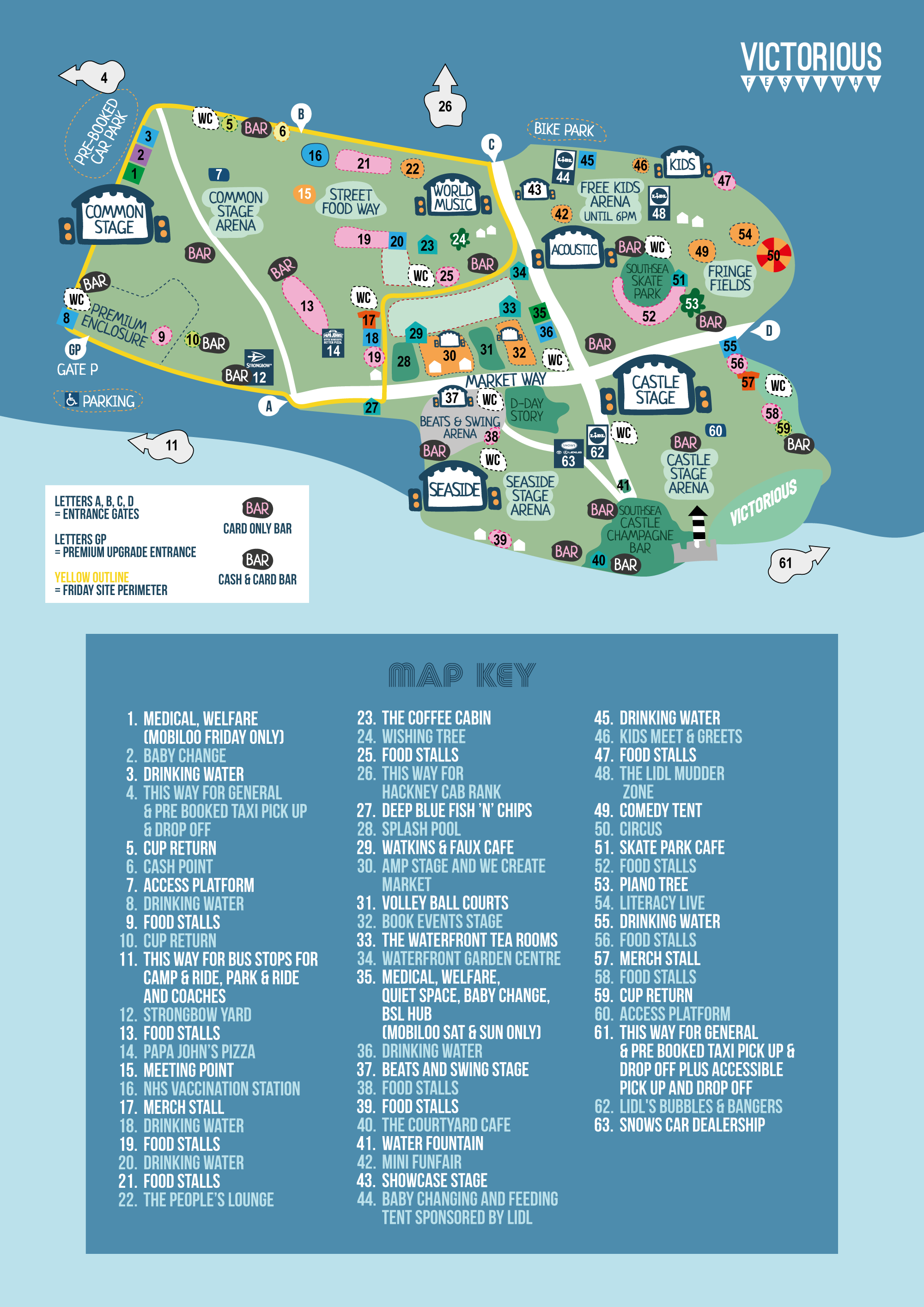a map illustrating various stages, bars, toilets and other facilities that are at Victorious 2021. It is a cartoon style illustration.